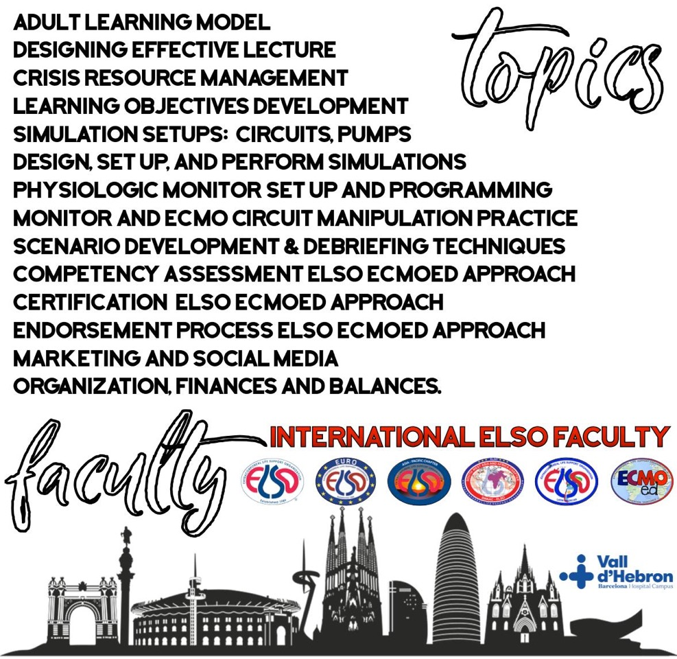 Registration form ELSO Train the Trainers course and ELSO Workshop Barcelona 2020